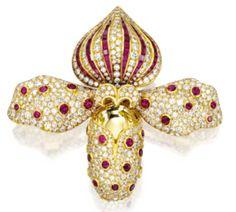 René Boivin - Broche 'Orchidée' - Or, Diamants et Rubis
