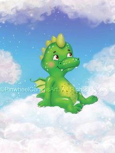 Kids canvas wall art Baby Dragon on a Cloud by PinwheelCanvasArt