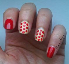 red & beige #nailart #dots