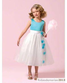 Jolie robe de bal cortège enfant Col rond Longueur mollet
