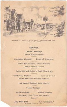 vintage menus - Google Search