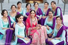 This Indian bride and groom wed in a sweet Sikh ceremony. Outdoor Indian Wedding, Indian Wedding Ceremony, South Indian Bride Hairstyle, Indian Bride And Groom, Indian Bridesmaid Dresses, Bridesmaid Outfit, Groomsmen Outfits, Bridesmaids And Groomsmen, Pakistani Wedding Outfits