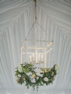 hanging chandelier with florals