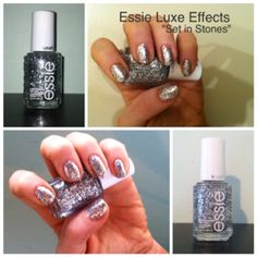 Essie Luxeffects in Set In Stones: My New Years Eve nails. The glitter is dense enough to wear alone with just two coats. Gorgeous shine and texture!!