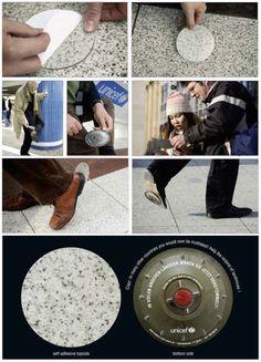 Aufkleber als Tretmine - UNICEF-Aktion gegen Landminen