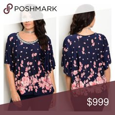 "🆕(Plus) Navy/ pink floral top Floral top. 96% polyester/ 4% spandex. Very soft and stretchy! Bust easily stretches beyond measurement.  1x: L 27"" B 48""  2x: L 27"" B 50"" 3x: L 28"" B 52"" ⭐️This item is brand new with tags.  🚫NO TRADES 💲Price is firm unless bundled 💰Ask about bundle discounts Availability: 1x•2x•3x • 2•2•2 Tops Blouses"