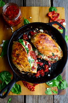 Sundried Tomato, Spinach, and Cheese Stuffed Chicken   Chicken