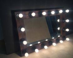 Vanity Hollywood Mirror with lights, Hollywood mirror, Makeup mirror, Mirror with lamps Hollywood Mirror With Lights, Hollywood Vanity Mirror, Mirror Vanity, Mirror Buffet, Vanity Decor, Mirrors For Makeup, Makeup Mirror With Lights, Teak, Rustic Wine Racks