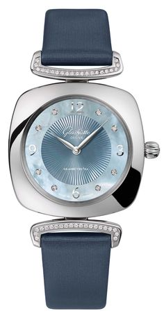 Glashütte Pavonina  ladieswatch with a cushion-shaped 31 x 31mm stainless  steel case adorned c9c2b8f688e6c