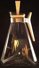 Vtg Mid Century Inland Glass Eases Era Atomic Golden Triangle Carafe Pitcher
