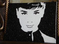 Adury Hepburn portrait using crushed german glass glitter by Stephani chandler www.divineaddictions.com