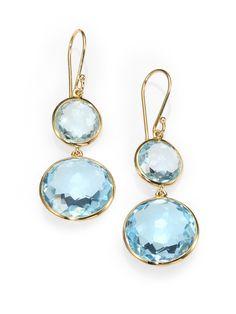 Ippolita Blue Topaz 18k Gold Drop Earrings in Blue (BLUE TOPAZ)   Lyst