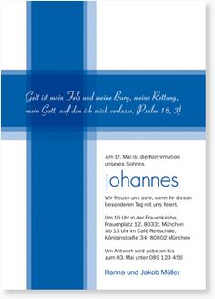 Kreuz - Royalblau Konfirmationseinladung