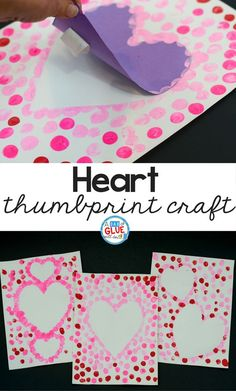 Create this Heart Thumbprint Art in your kindergarten classroom as your next Valentine's Day craft! It's a fine motor Valentine craft idea for kids. day crafts for kids Heart Thumbprint Art Valentine's Day Crafts For Kids, Valentine Crafts For Kids, Daycare Crafts, Valentines Day Activities, Classroom Crafts, Mothers Day Crafts, Preschool Crafts, Kindergarten Classroom, Valentines Crafts For Kindergarten