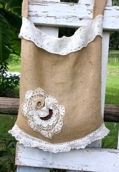 more *inspiration* BURLAP! add crochet lace to ... more or less anything!  | Shabby cottage burlap bag,  featured in Haute Handbags,beach bag,market tote. $60.00, via Etsy.