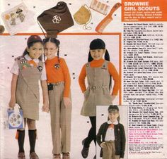Girl Scout catalog 1984 Brownies Girl Scout Uniform, Girl Scout Swap, Girl Scout Leader, Brownie Girl Scouts, Girl Scout Cookies, Boy Scouts, 1980s Childhood, Childhood Memories, Girl Scouts Of America