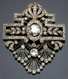 TWO COLOUR GOLD, EMERALD, SAPPHIRE AND DIAMOND BROOCHES, 1910'S.