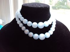 Light Blue Lucite Bead TwoStrand Necklace by EverMoreBeautiful, $19.00