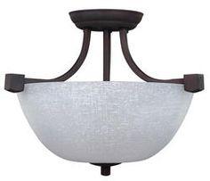 """Patriot Lighting® Grenadier 3-Light 14.75"""" Oil Rubbed Bronze Convertible Pendant or Semi-Flushmount Ceiling Light. Linen white $40"""