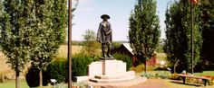 The Custer Monument in Jewett, Ohio, is a bronze statue that stands on the site of George Armstrong Custer's birthplace. Custer, born in 1839, became famous as a daring cavalryman during the Civil War.