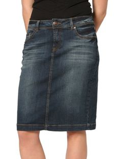 Vigoss Knee Length Denim Skirt ❤ liked on Polyvore | Clothes I ...
