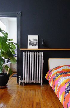 """for shutters -- benjamin moore 'soot' """"It's actually the deepest, darkest indigo blue imaginable and not a true black, but that's what gives it that extra oompf. Home Office, Ikea Bed, Dark Walls, Guest Bed, Interior Design Inspiration, Interior And Exterior, Interior Walls, Decoration, Duvet Covers"""