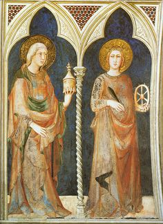 Assisi, Basilica di San Francesco, Unterkirche, Cappella di San Martino, Hl. Maria Magdalene und Katharina, Fresko von Simone Martini ((Basilica of St. Francis, Lower Church, St. Martin's Chapel, Saints Mary Magdalene and Catherine) #TuscanyAgriturismoGiratola
