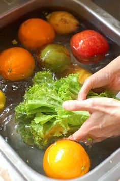 Cleaning fruit - fill sink with water, add 1 C. vinegar, mix. Add all fruit/veggies and soak for 10 minutes. Water will be dirty and fruit will sparkle with no wax or dirty film. Great for Berries too--keeps them from molding.