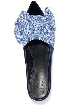 7bfb935072e4bf Trademark - Adrien bow-embellished velvet wedge slippers