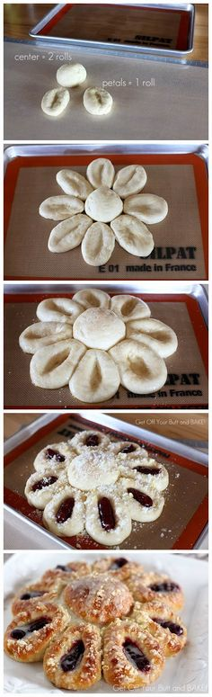 Petal Pull-Aparts ~ Made with a bag of Rhodes Dinner Rolls... they are darn good!