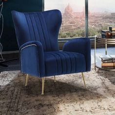 Teal Home Accents Blue Velvet - Navy Blue Velvet High Back Lounge Chair. Living Room Sofa Design, Living Room Lounge, Formal Living Rooms, Living Room Designs, Living Room Decor, Blue Velvet Accent Chair, Accent Chairs, Blue Chairs, Velvet Wingback Chair