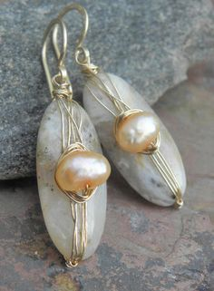 Agate and Pearls14k Gold Filled earrings by ThePurpleLilyDesigns, $40.00
