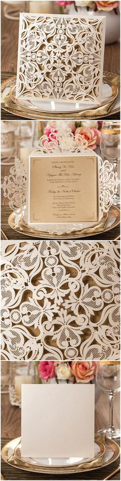 pear white and kraft paper laser cut wedding invitations