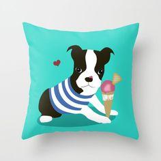 Dog Pillow Boston Terrier 16x16 18x18 20x20 Puppy Animal Pet Lover Kids, Gift for Her, Icecream Cute Decorative Birthday Women Bedding Teen