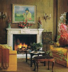 The Study/Sitting Room of Filoli as decorated by Anthony Hail. Photo by John Vaughan for Architectural Digest May 89