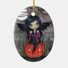 Shop Pumpkin Pixie Cute Vampire Halloween Ornament created by robmolily. Halloween Ornaments, Halloween Home Decor, Halloween 2020, Halloween House, Halloween Decorations, Halloween Costumes, Eye Art, Personalized Stationery, Pumpkin Decorating