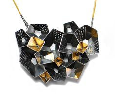 Origami Necklace #4 by Sophia Hu: Gold & Silver Necklace available at www.artfulhome.com