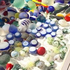 Epic seaglass display from the Santa Cruz festival November 2015 - Photo from satinandsalt