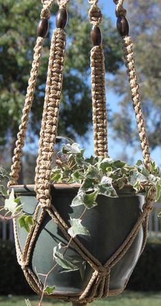 CLASSIC - Tan Handmade Macrame Plant Hanger Plant Holder with Beads - 6mm Braided Poly Cord in JUTE
