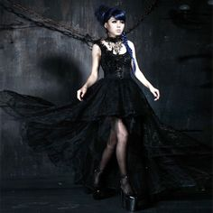 Rock Princess asymmetric dress with lace and corset detail - Gothic www.attitudeholland.nl #elegant