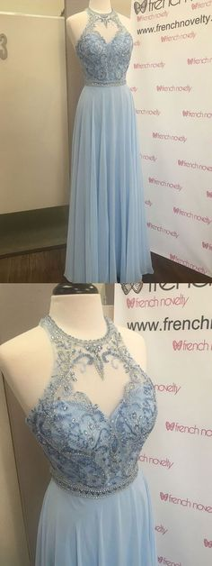 Charming A Line Round Neck Open Back Light Blue Long Prom Dresses with Beading, Formal Elegant Evening Dresses