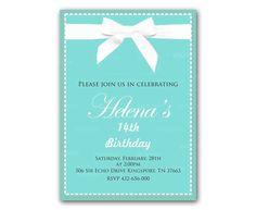 Tiffany Blue Invitation Kids Birthday Invitation Party Design