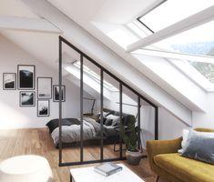 Verrière en pan coupé pour optimiser les espaces sous pente et gagner de la luminosité ! www.coulidoor.fr
