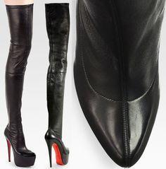 "Christian Louboutin ""Monicarina"" Thigh-High Leather Boots"