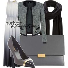 Charcoal and grey formal hijab outfit