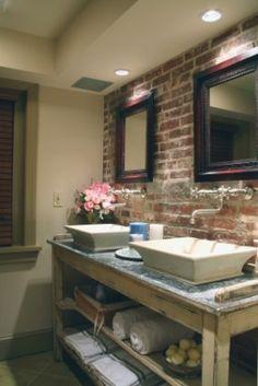 Bathroom with brick charisma design
