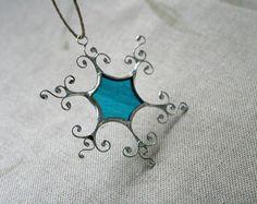 Winter snowflake ornaments White glass snowflake by ArtKvarta