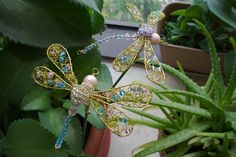 Image detail for -Wire Crochet with Beads and Crystals – The Dragonfly Garden Pick