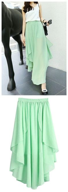 Asymmetric Hem Maxi Skirt, Gorgeous Flowy Chiffon Skirt