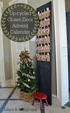 A creative way to use an old cast-off closet door and some pre-made burlap bags -- an easy Burlap Advent Calendar!